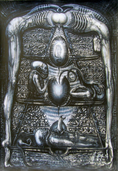 Hieroglyphics gicle'e by H.R. Giger